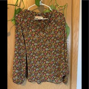 Loft floral split neck blouse